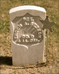 "Gravestone of Maggie Abraham's ""tardy lover"", Enoch A. Sexson"