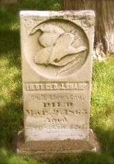 Grave of Lt. George J. Sharp who resigned from the 4th Iowa Cavalry in July 1863. He died March 1865 at age 28.