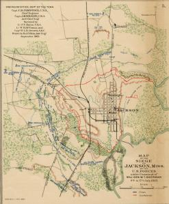 Map of Sherman's forces during siege of Jackson, Mississippi