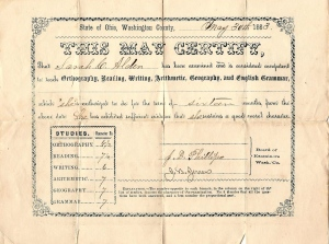 Teaching Certificate issued to Sarah Cornelia Alden on 30 May 1863 by Board of Examiners in Washington Co., Ohio