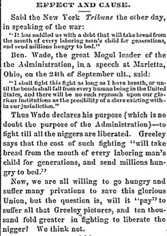 Newspaper Clipping referring to Sen. Benjamin Wade's Speech in Marietta, Ohio