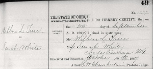 Marriage Record of Wilber L. True and Sarah White