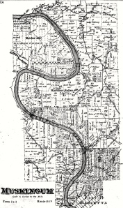 The farm of Rufus G. Alden was located just above the mouth of Rainbow Creek on the west side of the Muskingum River in the oxbow bend as shown in this Plat Map from the 1870s.