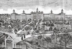 The Iowa Lunatic Asylum, southeast of Mt. Pleasant, was under construction when Lot & his friends visited in in September 1859. The first patients weren't admitted until 1861.