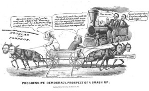 The Currier & Ives print below depicts the 1860 election, highlighting the split in the Democratic Party over its platform and the division of Democratic votes between the competing tickets headed respectively by Stephen A. Douglas and John C. Breckinridge, leading to the election of the Republican slate of Abraham Lincoln and Hannibal Hamlin.