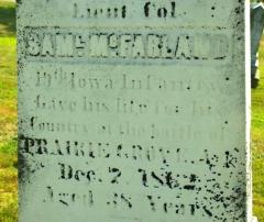 Lt. Col. Samuel McFarland (1824-1862) was killed at the Battle of Prairie Grove, 7 December 1862