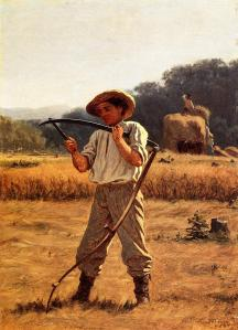 Man sharpening his scythe in foreground while hay is being loaded onto a wagon in the background