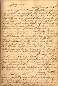 Entry for 14 May 1859 wherein Lot describes greasing his bloody feet and plowing bare-footed.