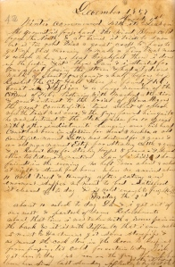 Lot's 1 December 1859 entry describing trial in Mt. Pleasant Court House involving counterfeiting and cattle thieves.