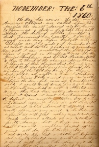 Lot's 6 November 1860 entry describes the passing around of a bottle of Republican whiskey by Harvey Ray in Mt. Pleasant.
