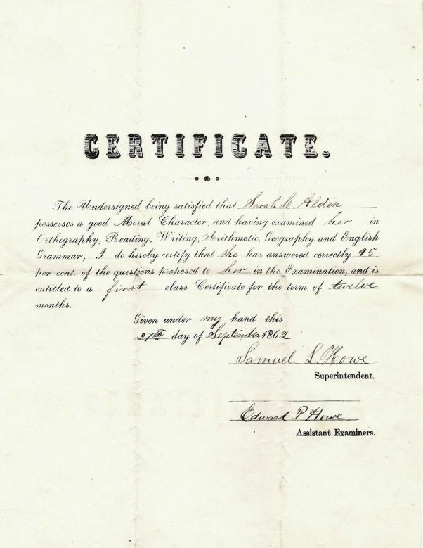 Signed 27 September 1862, Mt. Pleasant, Iowa