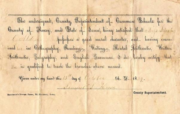 Signed 13 October 1859, M. Pleasant, Iowa