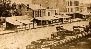 """The east side of the public square in Mt. Pleasant, (ca. 1865) looking toward the southeast. The """"railing"""" mentioned in the obituary refers to the hitching rail that surrounded the park's perimeter seen in the foreground. The Ambler Building (tall structure in photograph) had burned prior to Neal's fatal accident in 1888."""