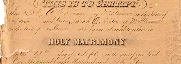 Closeup of Wedding Certificate