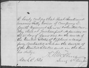 Documentation of death of Lt. Erasmus Tully Coiner of Co. D, 4th Iowa Cavalry in June 1862