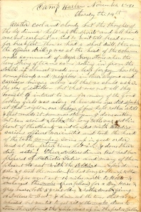 Lot describes the Thanksgiving Meal prepared for the soldiers at Camp Harlan by Henry County citizens.