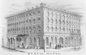 The Burtis House stood at the southeast corner of 5th & Iowa Streets in Davenport, IA