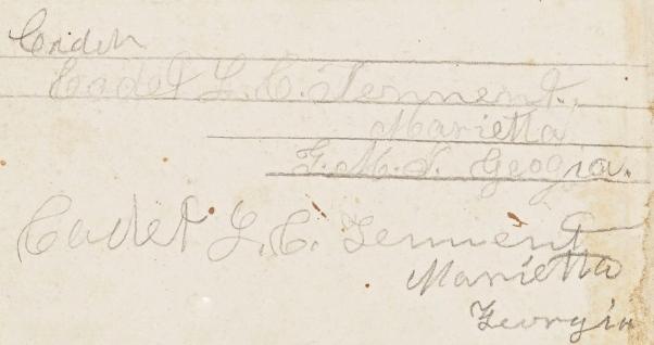 Cadet L. C. Tennent's signature